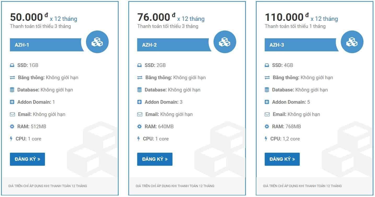 Gói dịch vụ của SSD standard Azdigi