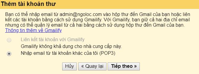 liên kết email tên miền riêng với gmail 2
