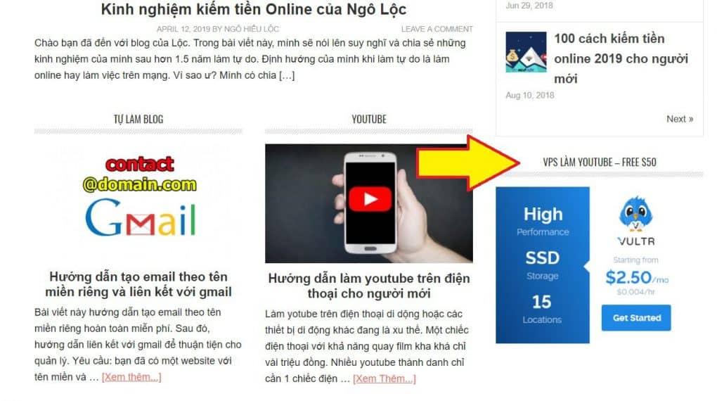 Ví dụ kiếm tiền với affiliate Vultr