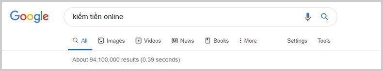 tìm kiếm kiếm tiền online google