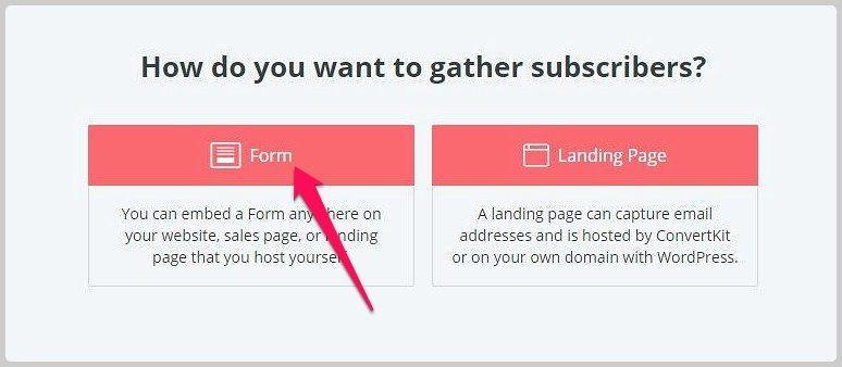 chọn tạo landing page hoặc form đăng ký trong convertkit
