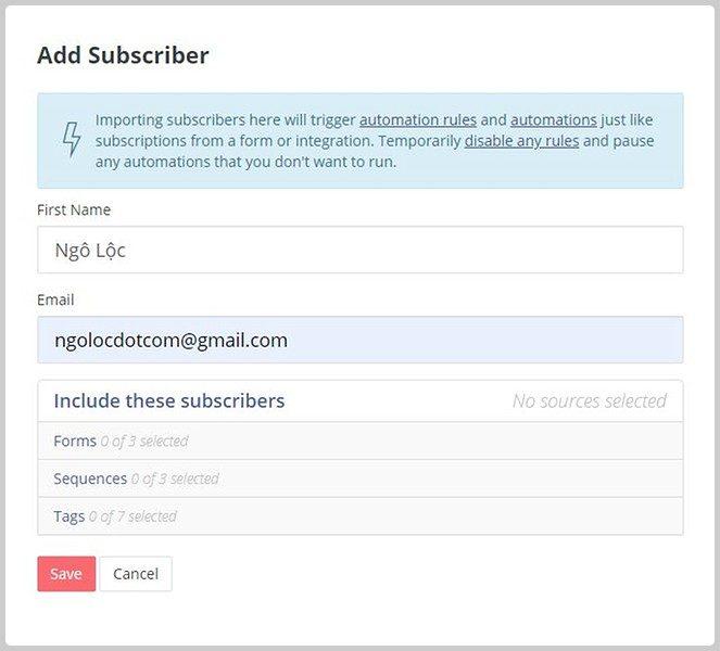 Thêm một email khách hàng thủ công vào converkit