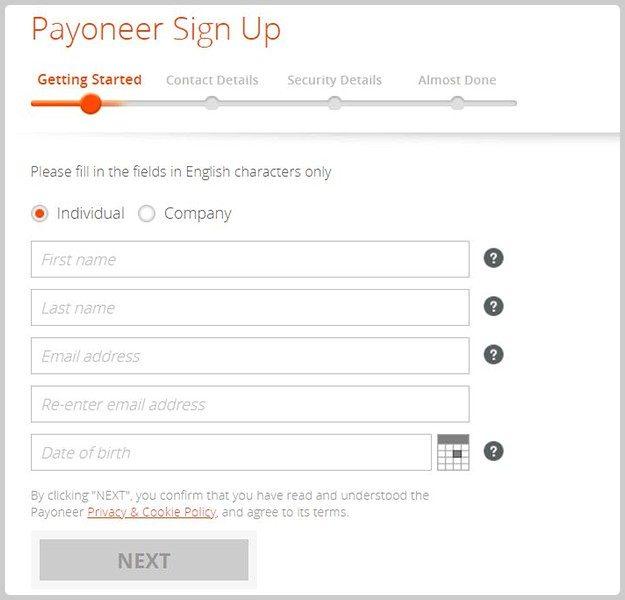 Đăng ký payoneer 2
